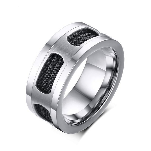 HAGA Shop Vnox 10mm Stainless Steel Men's Cable Wire Inlaid Ring High Quality Party Male Jewelry