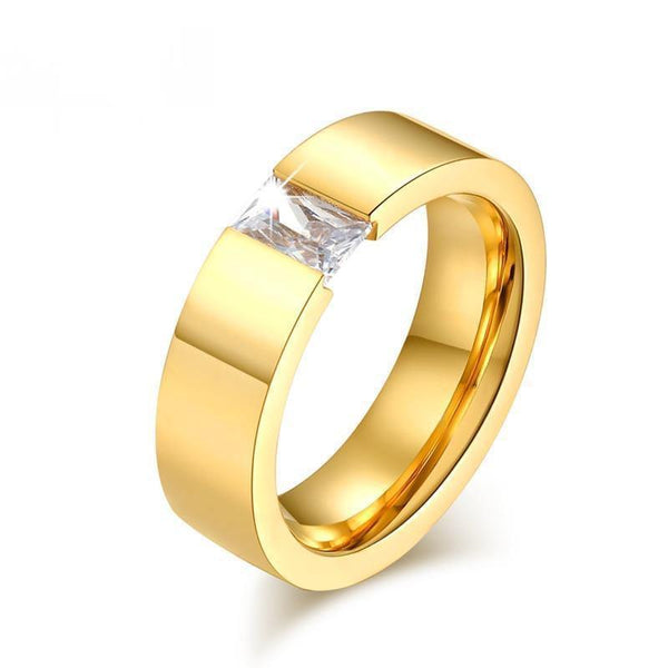 Big Square CZ Stone Ring for Women Gold-color Stainless Steel Wedding Jewelry - HAGA Shop