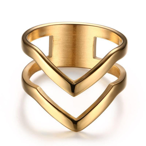 HAGA Shop Vnox Chevron Ring V Shape Ring Gold-color for Women Girl Stainless Steel Wedding Bands