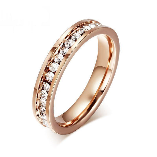 HAGA Shop Vnox Cute Women's Ring Rose Gold Color Full CZ Stones 4mm Width Stainless Steel Engagement Jewelry