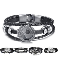 HAGA Shop Vnox Lucky Vintage Men's Leather Bracelet Playing Cards Raja Vegas Charm Multilayer Braided Women Pulseira Masculina 7.87
