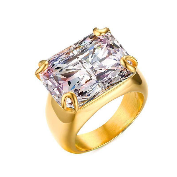 HAGA Shop Vnox Luxury CZ Stone Ring for Women Square Zircon Rings Gold-color Stainless Steel