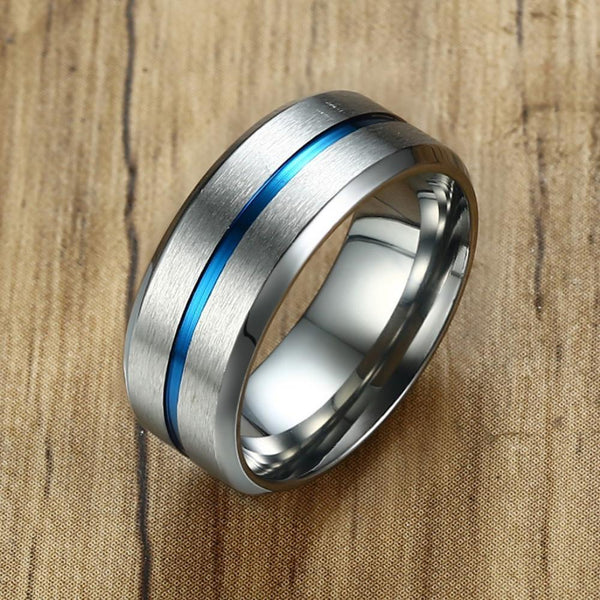 HAGA Shop Vnox Men's Basic 8mm Wedding Brand Ring Stylish Thin Blue Line Stainless Steel Finger Rings anillo masculino