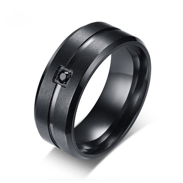 HAGA Shop Vnox Men's Wedding Brand Ring Stylish Black Two Lines 8MM Stainless Steel Matte Rings for Men Inlaid AAA Cubic Zirconia