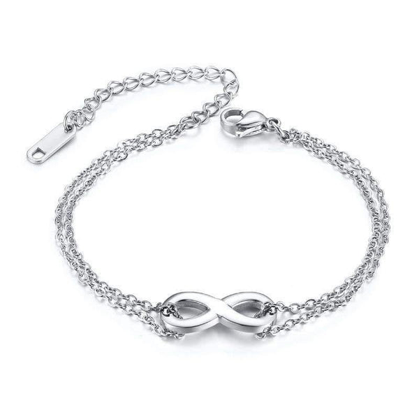HAGA Shop Vnox Temperament Infinity Charm Bracelets for Women Stainless Steel Link Chain Simple Elegant Female Party Jewelry Adjustable