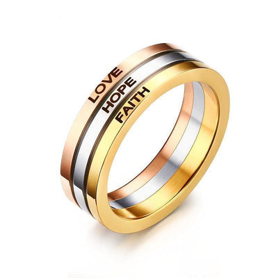 HAGA Shop Vnox Three Tone Mix Color Rings for Women LOVE HOPE FAITH Wedding Band Ring