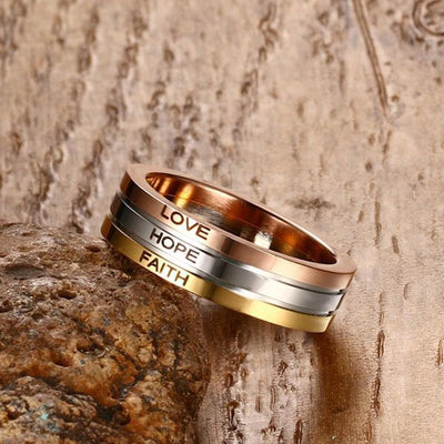 Three Tone Mix Color Rings for Women LOVE HOPE FAITH Wedding Band Ring - HAGA Shop
