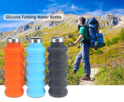 HAGA Shop Water Bottle Portable Silicone Retractable Folding Water Bottle Outdoor Travel Telescopic Collapsible Bottle Plastic With Lid