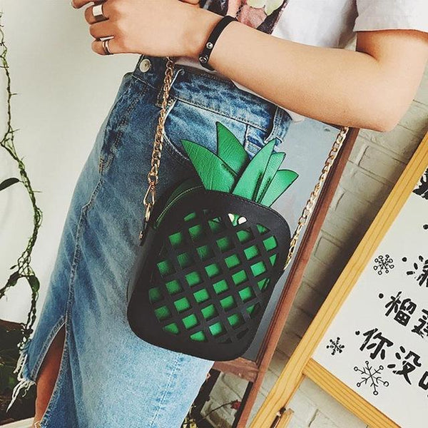 HAGA Shop Women's Bags black and green / Mini(Max Length<20cm) Girl Leather Cute Handbag Lovely Pineapple Messenger Bag With Chain Hollow Out