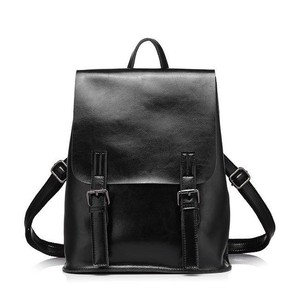 HAGA Shop Women's Bags Black / China / 17 Inches Brand Fashion Women Oil Wax Cow Split Leather Backpacks Large Capacity Shoulder Bags