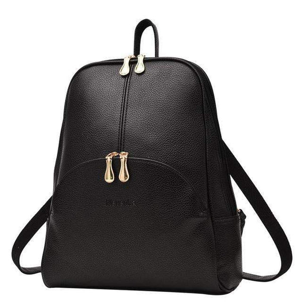 HAGA Shop Women's Bags black Hot Sale Women Leather Backpacks Softback Preppy Style Casual Teenagers Backpack Sac