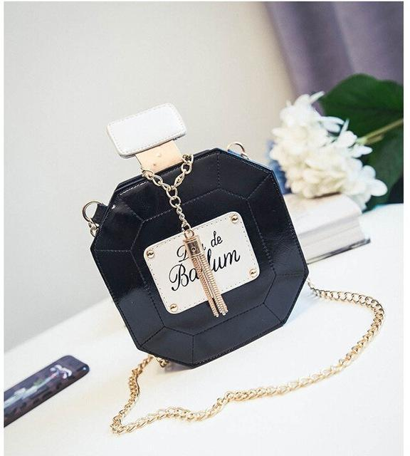 HAGA Shop Women's Bags Black / Mini(Max Length<20cm) Fashion Leather Perfume Bottle Cross-body Bag Chain Mini Clutch Bag