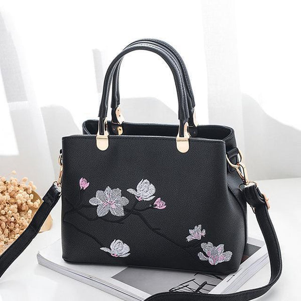 HAGA Shop Women's Bags Black Women Zipper Handbag Flower Quality National Style Tote Colorful Messenger Bags