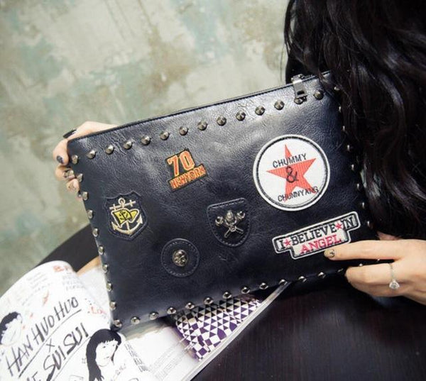 HAGA Shop Women's Bags Day Clutches 1 / 32x22x2cm Women Leather Clutches Rivet Cross-body Messenger Large Capacity Bags