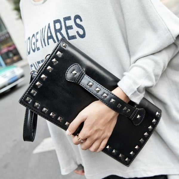 HAGA Shop Women's Bags Default Title Women Leather Clutches Bag Unique Rivet Pattern Cross-body Bag