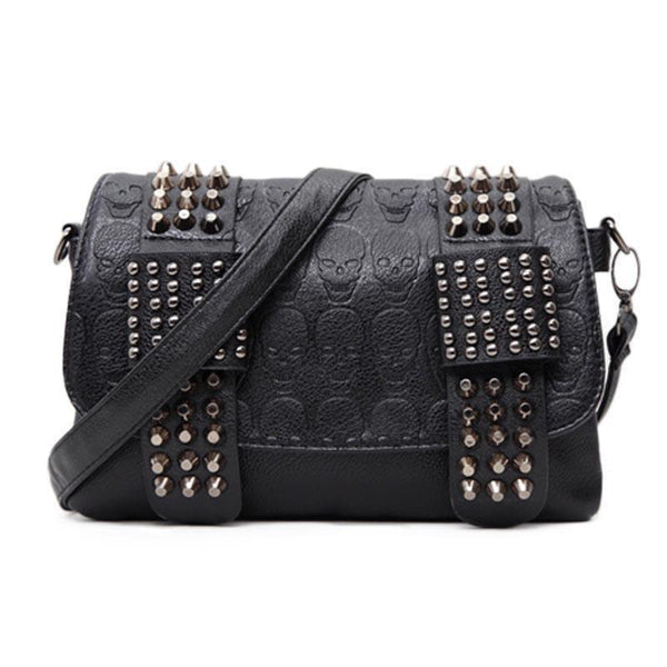 HAGA Shop Women's Bags Skull Rivets Women Fashion Vintage Cool Black Leather Messenger Bags