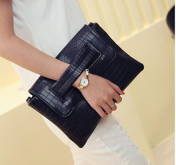 HAGA Shop Women's Bags Women Clutches Black / 30x19x3cm Classic Women Leather Handbags Alligator Cross-body Bag
