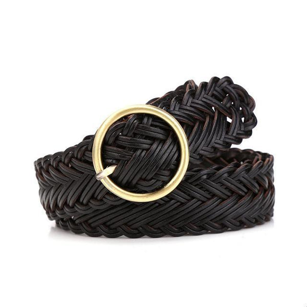 HAGA Shop Women's Belts black High Quality Knitted Leather Belts for Women Good Pin Buckle