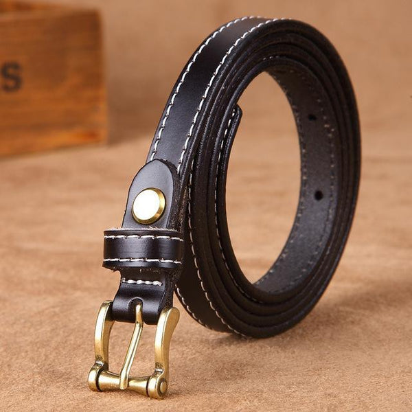 HAGA Shop Women's Belts black Hot Sale Good Quality Women Belt Genuine Leather Waist Strap Top Pin Buckle