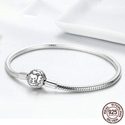 HAGA Shop Women's Jewelry 925 Sterling Silver Lion Animal Round Clasp Snake Strand Chain Bracelets for Women Sterling Silver Jewelry SCB054
