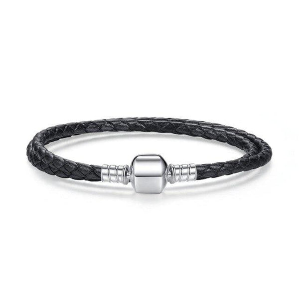 HAGA Shop Women's Jewelry Double Pink Black Braided Leather Chain Women Bracelets with 925 Sterling Silver Snake Clasp PAS908