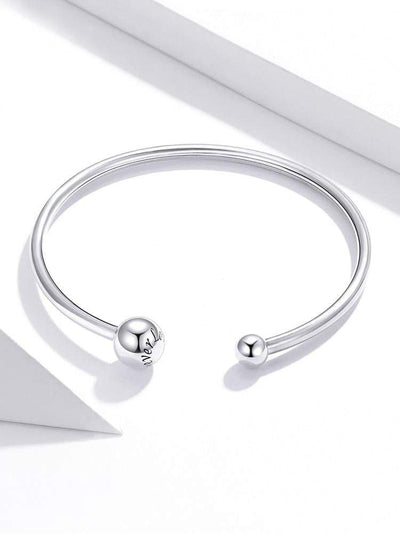 HAGA Shop Women's Jewelry Silver Bangle 925 Sterling Silver Threaded Beads Bracelet for Original Charm DIY Jewelry Accessories SCB198