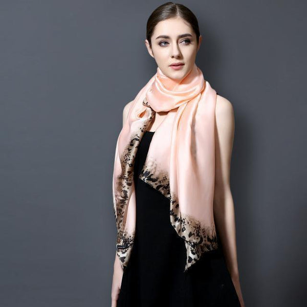 HAGA Shop Women's Scarves 01 / 175CM X 90CM Luxury Silk Scarf Women Leopard Print Long Shawls And Scarves Summer