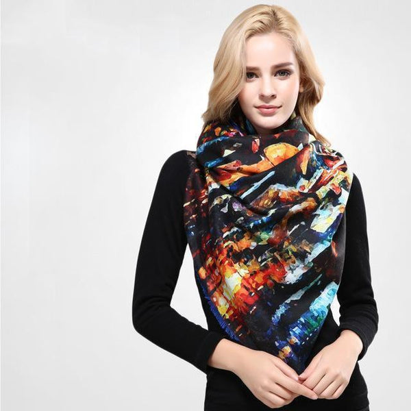 HAGA Shop Women's Scarves 01 / 185CM X 65CM Women Scarf Wool Thicken Warm Wrap Printing Scarves and Stoles Soft Textured