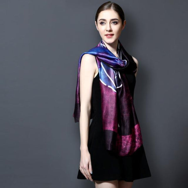 HAGA Shop Women's Scarves 01 / 185CM X 90CM New Arrival 2018 Women Silk Scarf Luxury Brand Fashion Foulard Femme Print