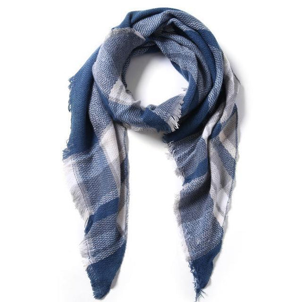 HAGA Shop Women's Scarves 01 / 190cmX140cmX140cm Women Scarf Winter Triangle Scarf Shawl Cotton Foulard Plaid Scarves