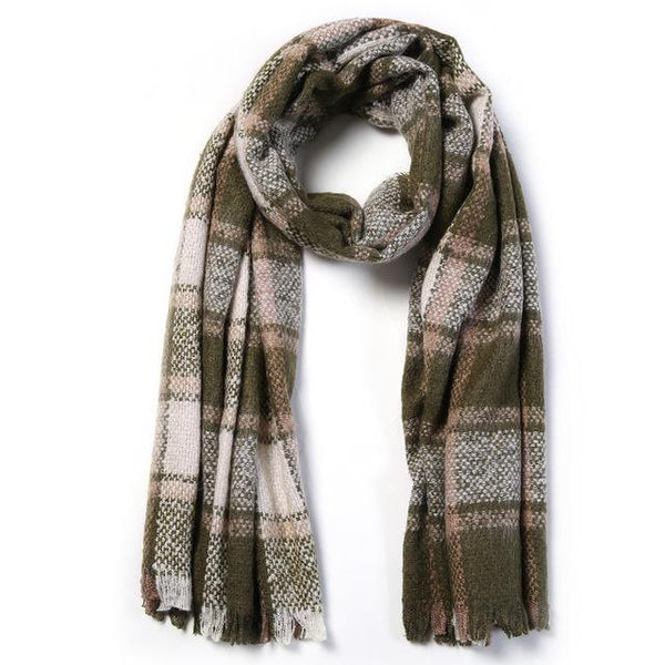 HAGA Shop Women's Scarves 01 / 196cmX65cm Women Luxury Plaid Winter Scarves Thick Warm Fashion Large Foulard