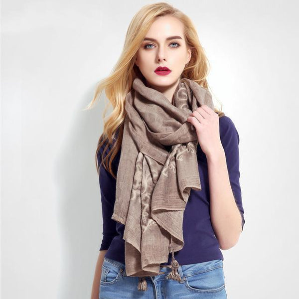 HAGA Shop Women's Scarves 01 Women Luxury Cachecol Brand Cotton Scarf Shawl High Quality Stitch Wrap Shawl