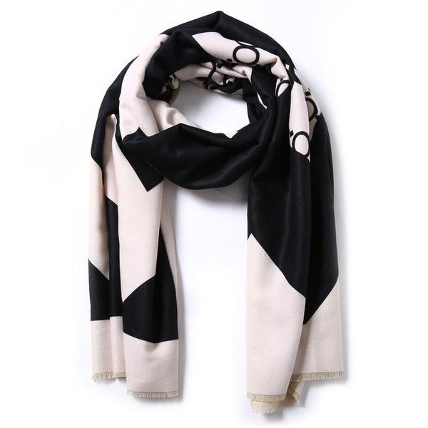 HAGA Shop Women's Scarves 02 / 185cmX65cm Women Luxury Scarf Wool Cape Cashmere Shawls Thicken Foulard Warm Wrap