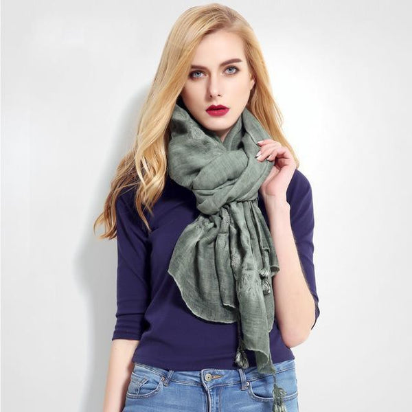 HAGA Shop Women's Scarves 02 Women Luxury Cachecol Brand Cotton Scarf Shawl High Quality Stitch Wrap Shawl