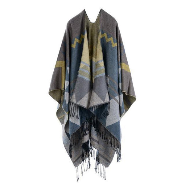 HAGA Shop Women's Scarves Color No 1 Hot Sale Women Winter  Poncho Cape Long Thick Cashmere Scarf Shawl With Tassel