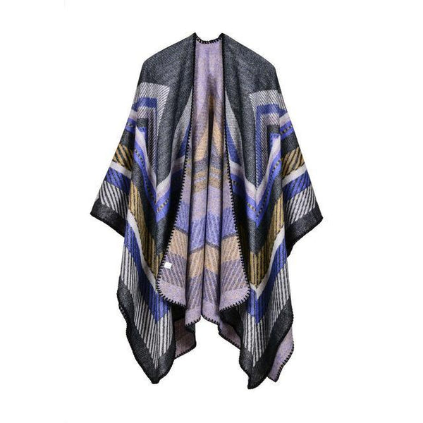 HAGA Shop Women's Scarves Color No 1 Hot Sale Women Winter Scarf Retro Stripes Ponchos and Capes Brand Cashmere