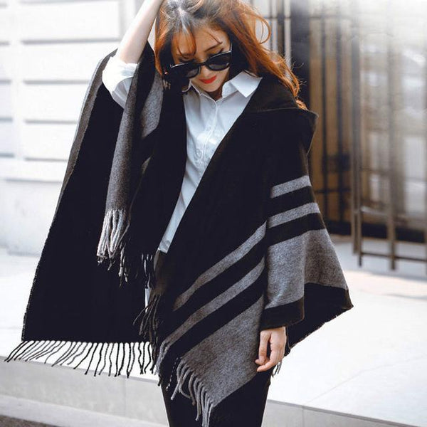 HAGA Shop Women's Scarves Color No 1 New Fashion Women Wool Hooded Poncho with Hat Winter Scarves Black Beige Colors