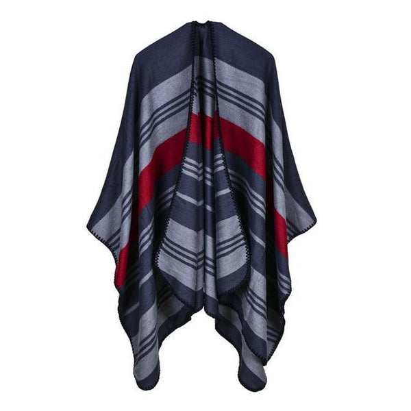 HAGA Shop Women's Scarves Color No 1 New Vintage Women Cashmere Feel Ponchos Long Striped Winter Poncho Scarf Cape
