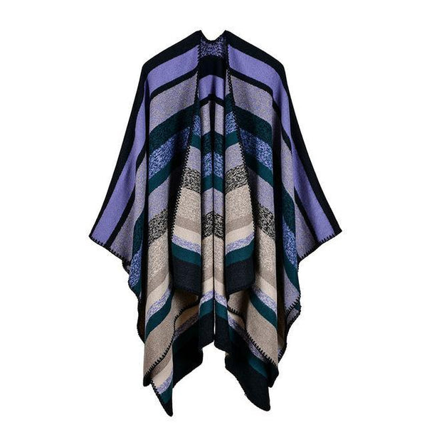 HAGA Shop Women's Scarves Color No 1 Women Double Sides Striped Cashmere Feel Winter Poncho Long Scarf Cape