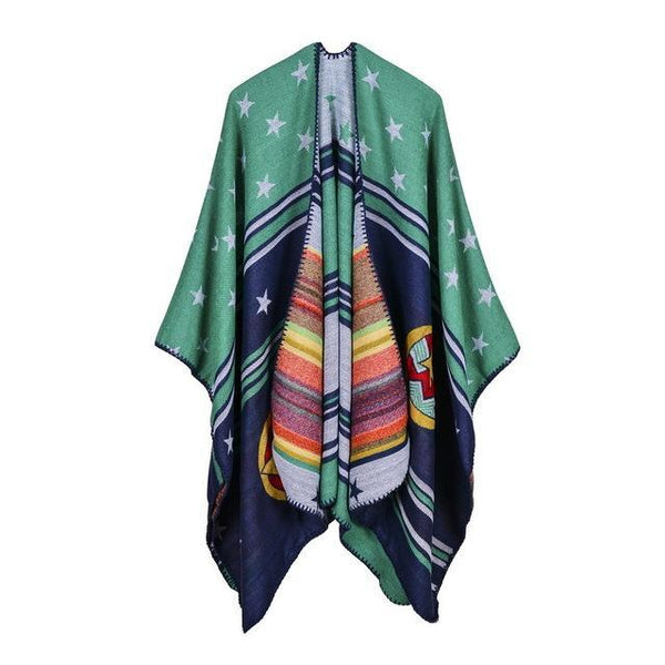 Women Winter Fashion Scarf Brand Thick Cashmere Feel Ponchos and Capes - HAGA Shop