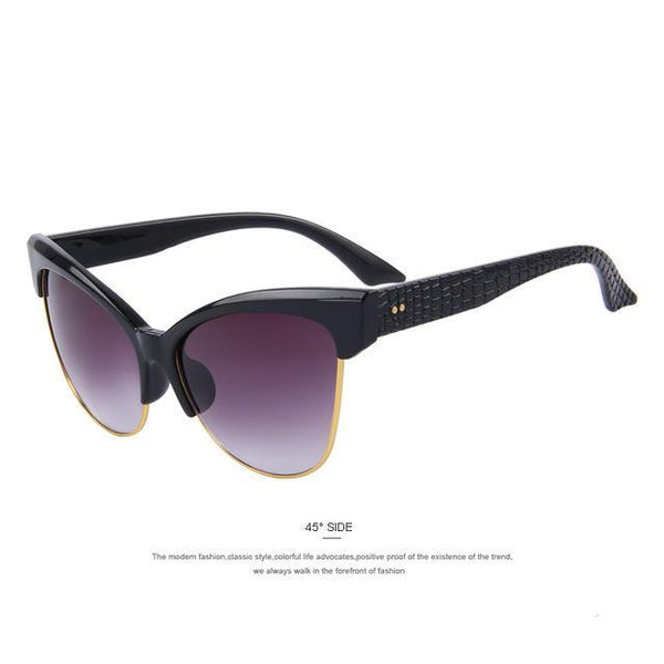 HAGA Shop Women's Sunglasses C01 Black Cat Eye Sunglasses