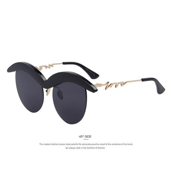 HAGA Shop Women's Sunglasses C01 Black Cat Eye Sunglasses Mustache Frame