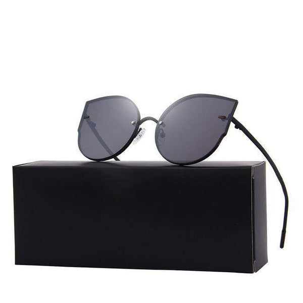 HAGA Shop Women's Sunglasses C01 Black New Arrival Women Classic Brand Designer Cat Eye Sunglasses Rimless Metal Frame