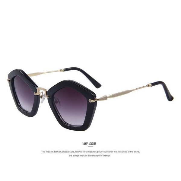 HAGA Shop Women's Sunglasses C01 Black Retro Women Sunglasses Cat Eye