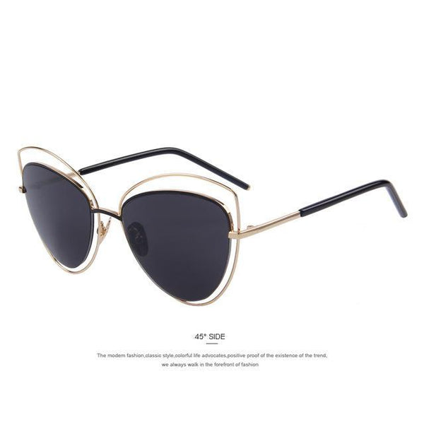 HAGA Shop Women's Sunglasses C01 Black Women Cat Eye Big Frame Sunglasses