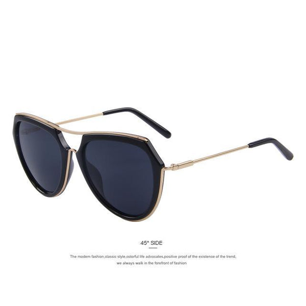 HAGA Shop Women's Sunglasses C01 Black Women Cat Eye Double-Bridge Sunglasses