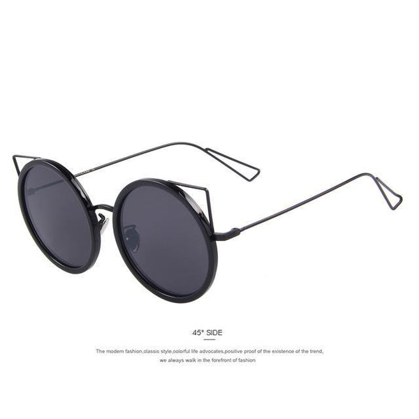 HAGA Shop Women's Sunglasses C01 Black Women Cat Eye Shades Round Frame Sunglasses
