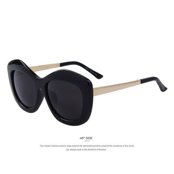 HAGA Shop Women's Sunglasses C01 Black Women Cat Eye Sunglasses Big Frame Metal Temples