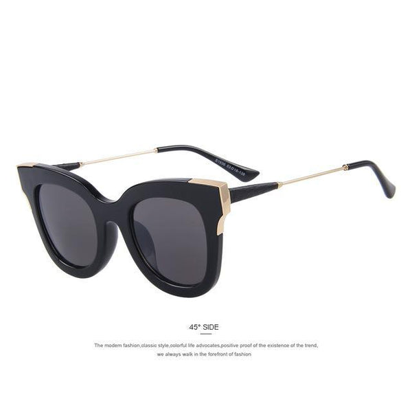 HAGA Shop Women's Sunglasses C01 Black Women Cat Eye Sunglasses Retro Pierced