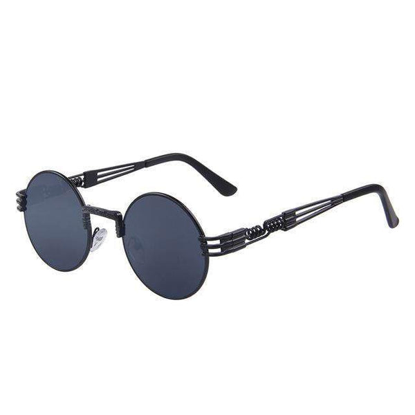 HAGA Shop Women's Sunglasses C01 Black Women Steampunk Sunglasses Retro Round Sunglasses